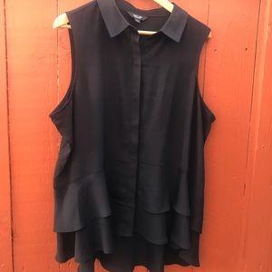 Beautiful black no sleeve ruffle bottom blouse